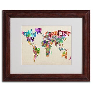 Michael Tompsett 'World Map II... Typography' Framed Matted Art