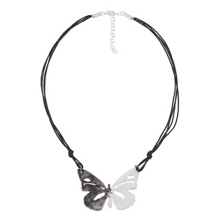 Handcrafted Two-Tone Pewter/Cotton Butterfly Pendant Necklace (India)
