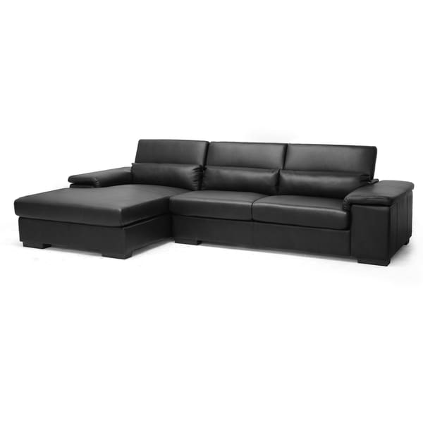 Baxton studio dolan black leather modern sectional sofa for Black leather chaise sofa