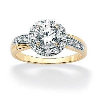 Ultimate CZ 10K Yellow Gold Round Prong-set Cubic Zirconia Ring