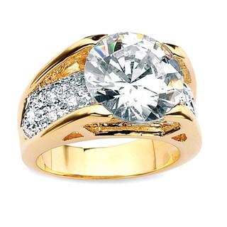 PalmBeach CZ Gold-overlay White Round Cubic Zirconia Ring Glam CZ