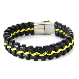 Obsessed Jewelry Braided Leather and Stainless Steel Bracelet