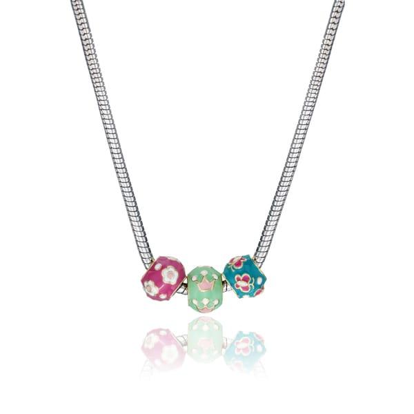 Little Miss Twin Stars Silvertone Children's Enamel Slide Bead Necklace