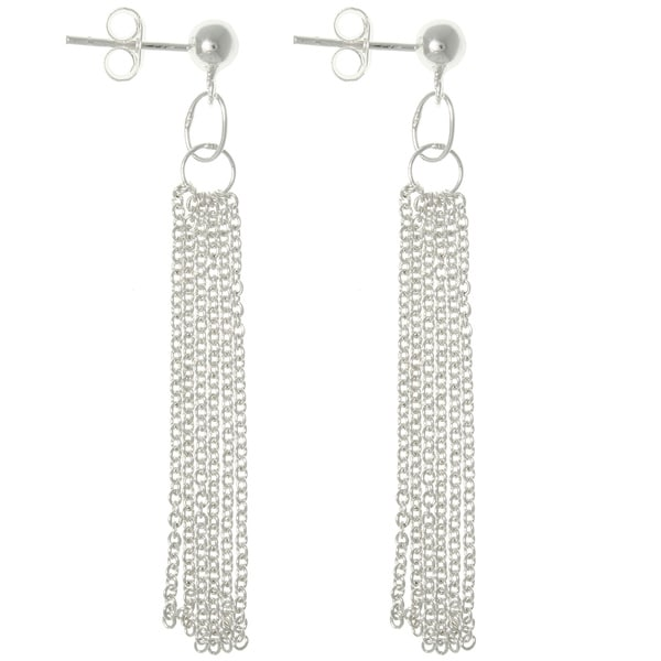Carolina Glamour Collection Sterling Silver Multi-chain Dangle Earrings