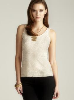 MSK Metallic Crochet Tank