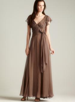 Tadashi Ruffle & Pleat Chiffon Dress