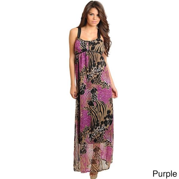 Stanzino Women's Empire Waist Printed Maxi Dress