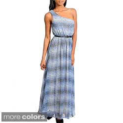 Stanzino Women's Single Shoulder Snake Print Maxi Dress