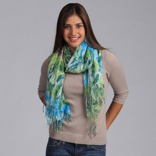 Saro Women's Turquoise Floral Printed Scarf