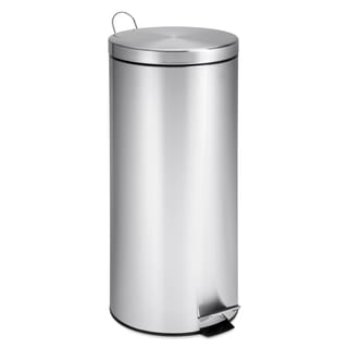 Stainless Steel 30-liter Step Trash Can with Bucket