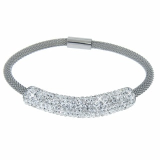Eternally Haute Stainless Steel Czech Crystal Mesh Magnet Bracelet