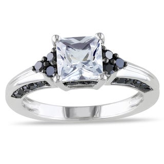 Miadora Silver Created Sapphire and 3/8ct TDW Black Diamond Ring
