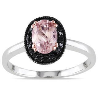 Miadora Sterling Silver Oval-cut Morganite and 1/10ct TDW Black Diamond Ring