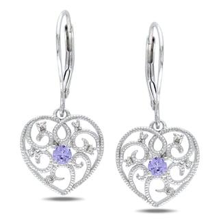 Miadora Sterling Silver Tanzanite and Diamond Heart Earrings