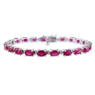 Miadora Sterling Silver Created Ruby Bracelet