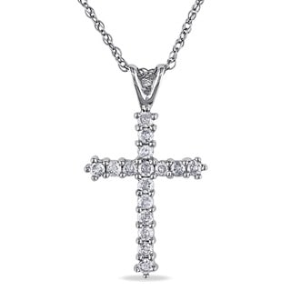 Miadora 10k White Gold 1/4ct TDW Diamond Cross Necklace (H-I, I3)