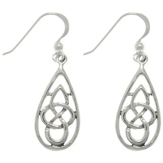Carolina Glamour Collection Silver Celtic Teardrop Knot Earrings