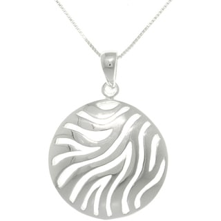 CGC Sterling Silver Zebra Print Circle Pendant on 18-inch Necklace