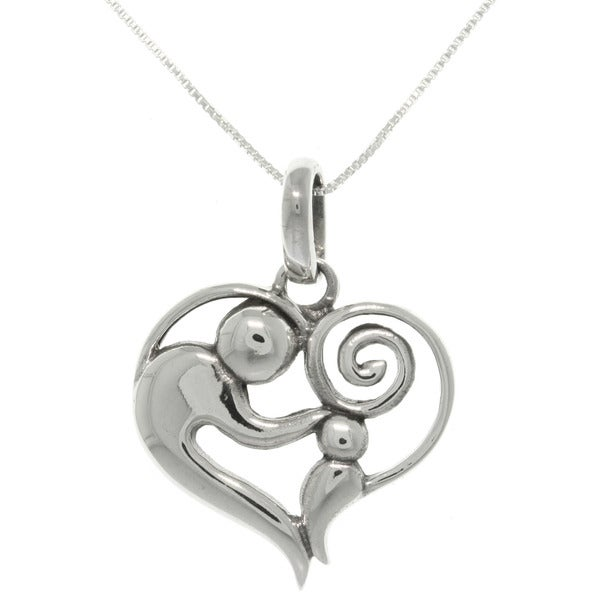 CGC Sterling Silver Heart Pendant Necklace of mother and child