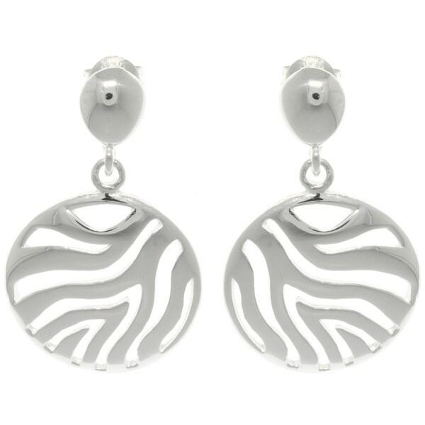 CGC Sterling Cut-out Silver Zebra Circle Dangle Earrings