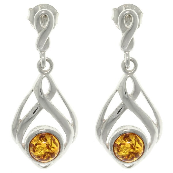 CGC Sterling Silver Baltic Amber Drop Dangle Earrings