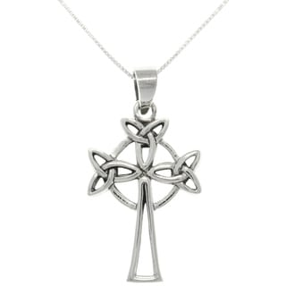 CGC Sterling Silver Triple Trinity Knot Celtic Cross Necklace