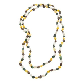 Green, Yellow, White and Brown FW Pearl 60-inch Necklace (6-8 mm)