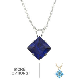 10k Gold Blue Topaz or Created Blue Sapphire Necklace