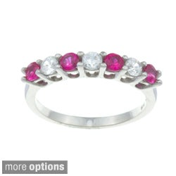 Sterling Silver Created Ruby or Sapphire and Cubic Zirconia Ring