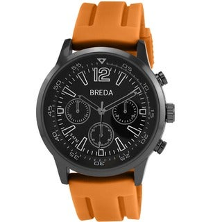 Breda Men's 'Oliver' Orange Silicone Strap Watch