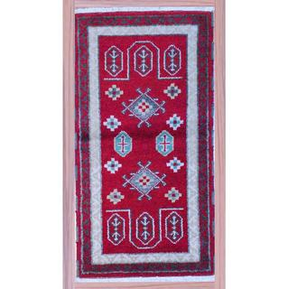 Indo Hand-Knotted Kazak Red/Ivory Wool Accent Rug (2'2 x 4')