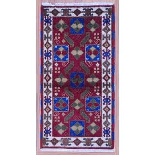 Indo Hand-knotted Kazak 2'2 x 4' Red Wool Area Rug (India)