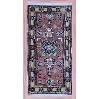 Indo Hand-knotted Kazak Light Brown/ Ivory Wool Rug (2'2 x 4')