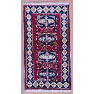 Indo Hand-knotted Kazak Burgundy/ Navy Wool Rug (2'2 x 4')