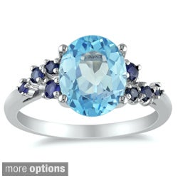 Miadora Sterling Silver Blue Topaz or Amethyst Ring