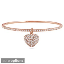 Miadora Silver Cubic Zirconia Heart Bangle Bracelet