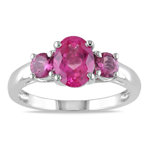 Miadora Sterling Silver Created Pink Sapphire 3-stone Ring