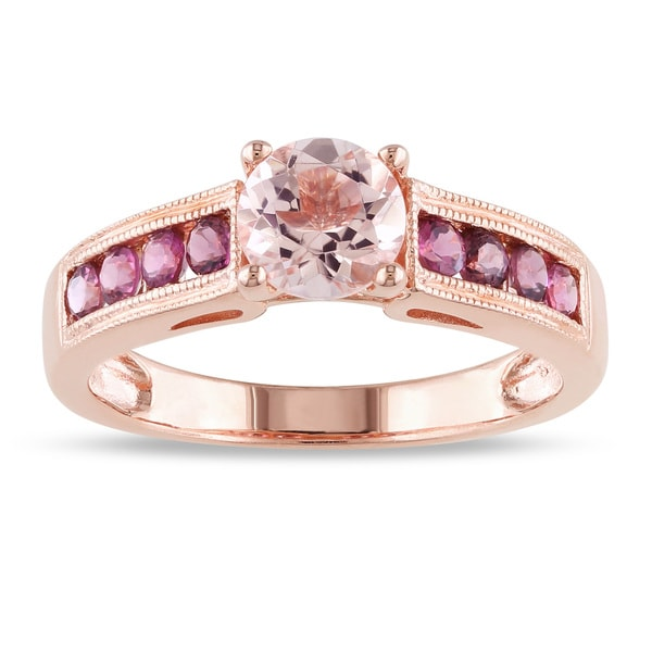 Miadora Rose-plated Silver Round-cut Morganite and Pink Tourmaline Ring