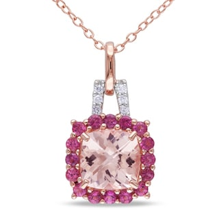 Miadora Rose-plated Silver Morganite, Tourmaline and Diamond Necklace