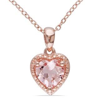 Miadora Rose-plated Silver Morganite Necklace