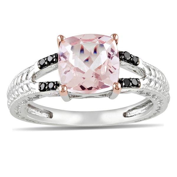 Miadora Sterling Silver Morganite and Black Diamond Ring