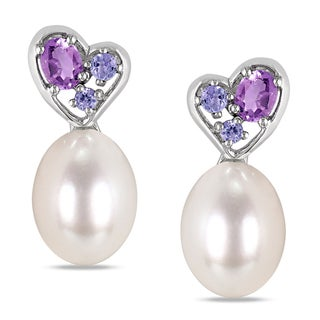 Miadora Sterling Silver Pearl, Tanzanite and Amethyst Earrings (8-8.5 mm)