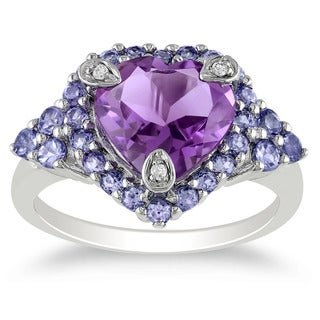 Miadora Sterling Silver Amethyst, Tanzanite and Diamond Accent Ring with Bonus Earrings