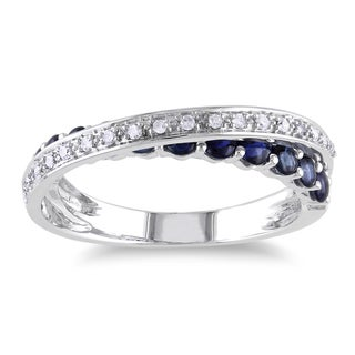 Miadora 10k White Gold Sapphire and 1/10ct TDW Diamond Ring (G-H, I1-I2)