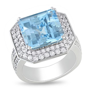 Miadora Sterling Silver Blue Topaz and White Sapphire Ring