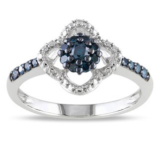 Miadora 10k White Gold 1/4ct TDW Blue Diamond Clover Ring