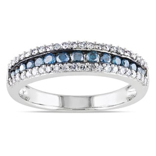 Miadora 10k Gold 1/2ct TDW Blue and White Diamond Ring (H-I, I2-I3)