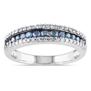 Miadora 10k Gold 1/2ct TDW Blue and White Diamond Ring (H-I, I2-I3)