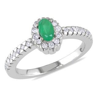 Miadora 14k White Gold Emerald and 1/6ct TDW Diamond Ring (I-J, I2-I3)