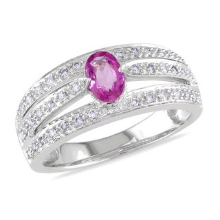 Miadora Signature Collection 14k White Gold Pink Sapphire and 1/5ct TDW Diamond Ring (H-I, I1-I2)